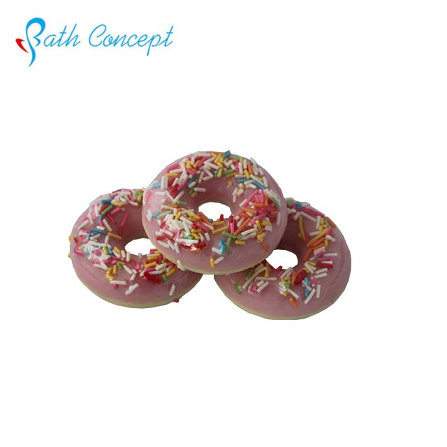Cute round doughnut shaped fruit scent natural health ingredient bath soap toys inside