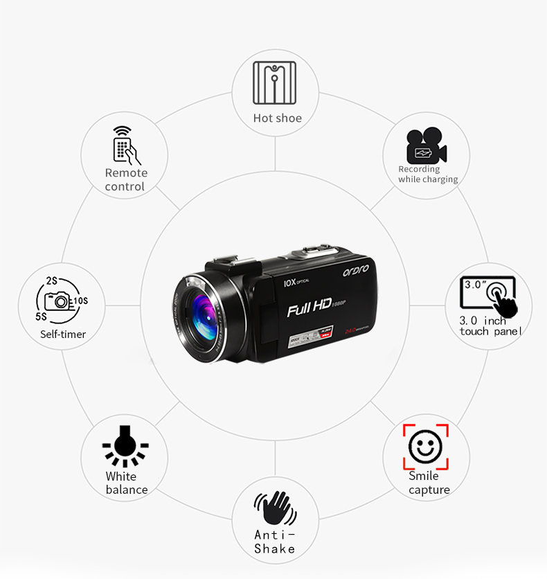 ORDRO factory OEM Z82 DV 10X optical zoom 120x digital zoom photo camera professional wifi video camera