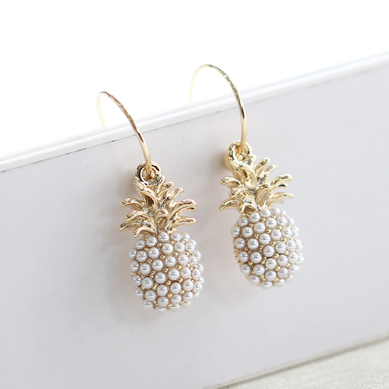 Korean pearl fruit pineapple earrings For women jewelry 925 silver pin ear ring 2019 new arrive