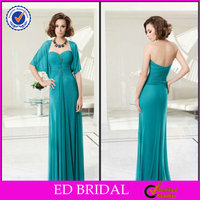 EDM021 Enchanting Flowing Chiffon Two Pieces Beaded Turquoise Mother of the Bride Jacket Dresses