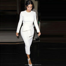 monroo Women 2016 New Ultra Beauty Kim Kardashian White Bodycon Dress Long Sleeve O-Neck Maxi Dress Plus Size Party Wear