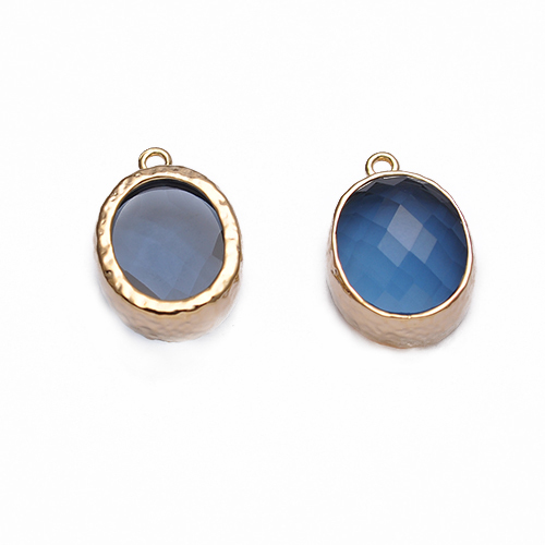 New Arrival Bezel Glass Pendant Charm 17*12mm Gold or Silver Plated Brass For Earrings Necklace Wedding Jewelry