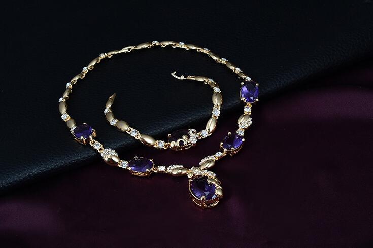 18K Gold plated fashion heavy jewelry sets with purple zirconia necklace ,bracelets ,ring,earrings sets Anniversary party
