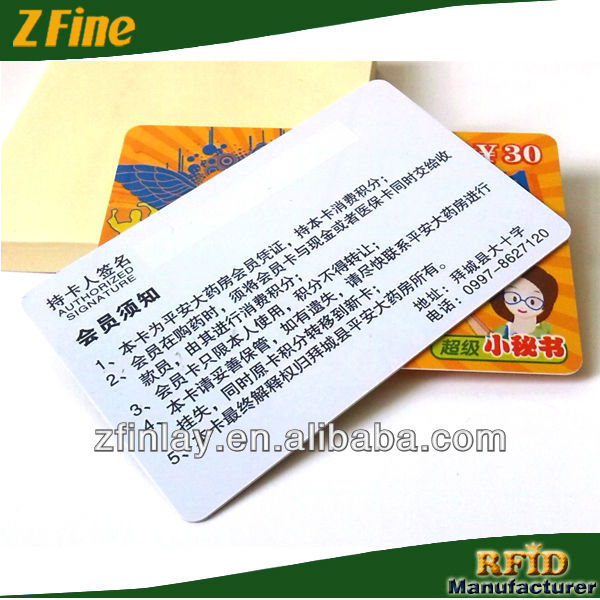 RFID smart card plastic recharge card Telecom Recharge Card