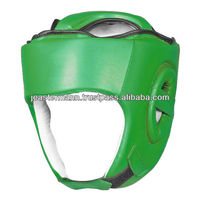 Green Real Leather Boxing Head Guard, Top Quality Boxing Helmet