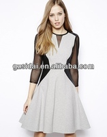 Fancy elegance ladies skater dress with sheer sleeves and pu leather