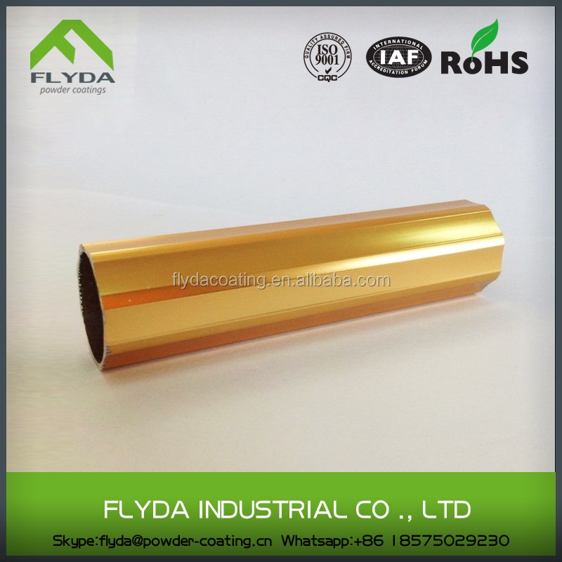 Supper glossy mirror gold powder coating for aluminum profile