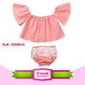 Infant Toddler Baby Girls Clothes off the shoulder flutter baby crop top t-shirts blouse Ruffle Lace Shorts 2 pcs set