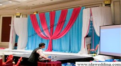 IDA wedding sky blue and fuchsia backdrop curtain/banquet backdrop curtain for wedding (IDAB1633)
