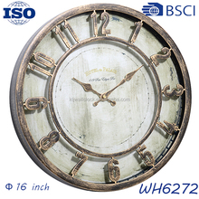 16 inch diameter plastic retro quartz wall clock , antique wall clock for home decoration