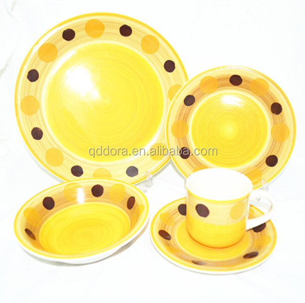 Round 20pcs blue color glaze stoneware dinner set, China Manufacturers hd designs dinnerware