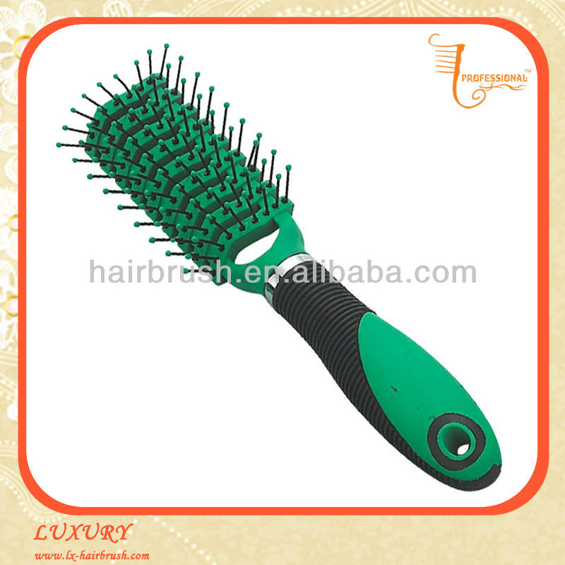 Green plastic bulk hair brushes