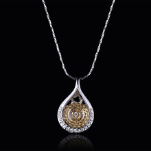 Top Quality Crystal Water drop Pendant necklace Champagne Raw Ball Crystal Silver Chain Necklace For Women Bijoux