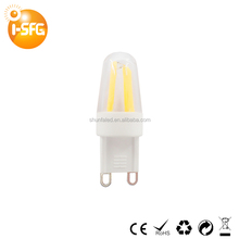 G9 filament led light bulb 2w high quality AC110V 220V Candle wick cob lamp