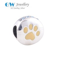 925 sterling silver paw print bead charm jewellery from india