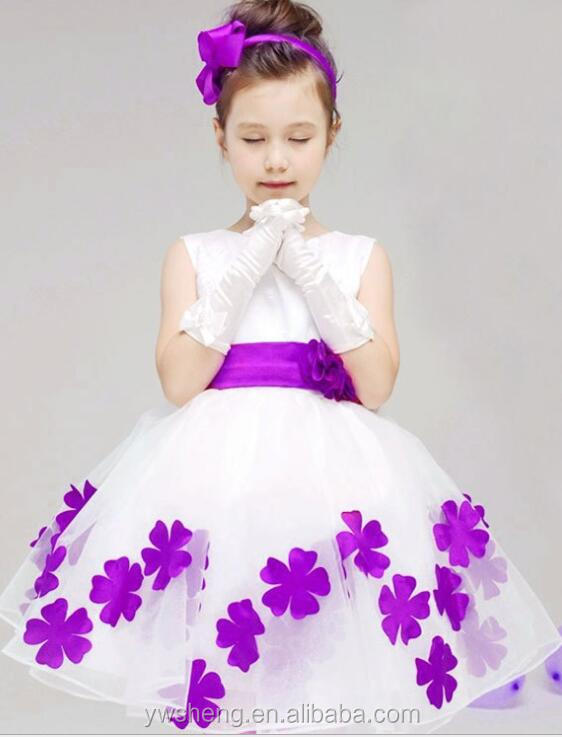 Fashion Fluffy baby girl princess tulle party dress with petal wedding dress