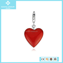 Silver Heart Pendant for Fashion Bracelet Red Heart Charm in Sterling Silver