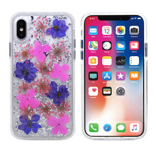 new design foil flake real dried pressed flower tpu gel case for iphone 5 6 7 8 plus x