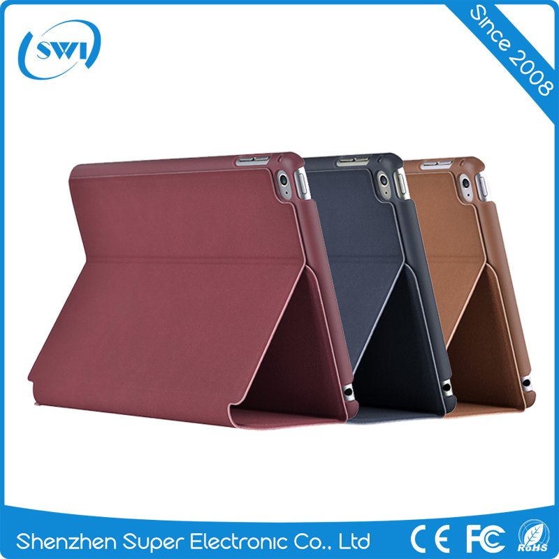 Comma 2017 Factory Wholesale shock proof Customized leather back cover case with stand for Ipad mini 4