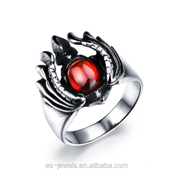GJ 489 2016 hot sale red stones steel rings for Halloween