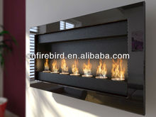 Ethanol fireplace FD50 + 7x round burners + wall mounted + Stainless steel
