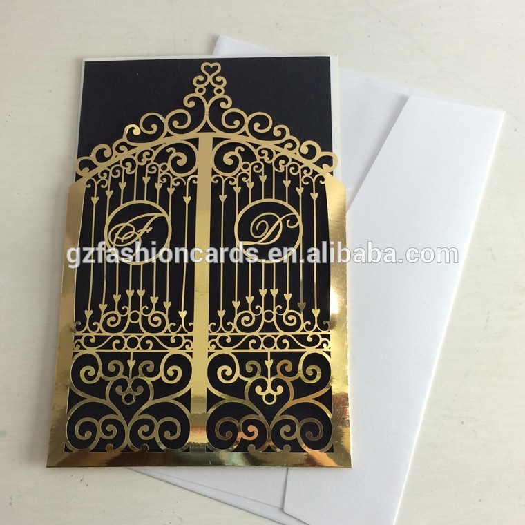 Wholesale Unique Luxury Golden Scroll Wedding Invitations Boxes