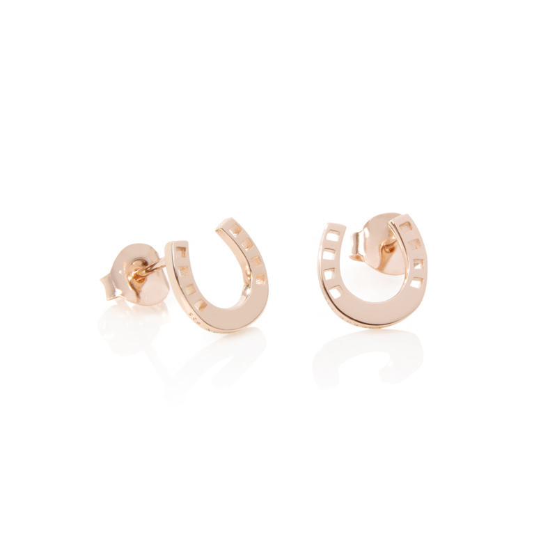 Simple small rose gold horseshoe stud daily wear earrings for women