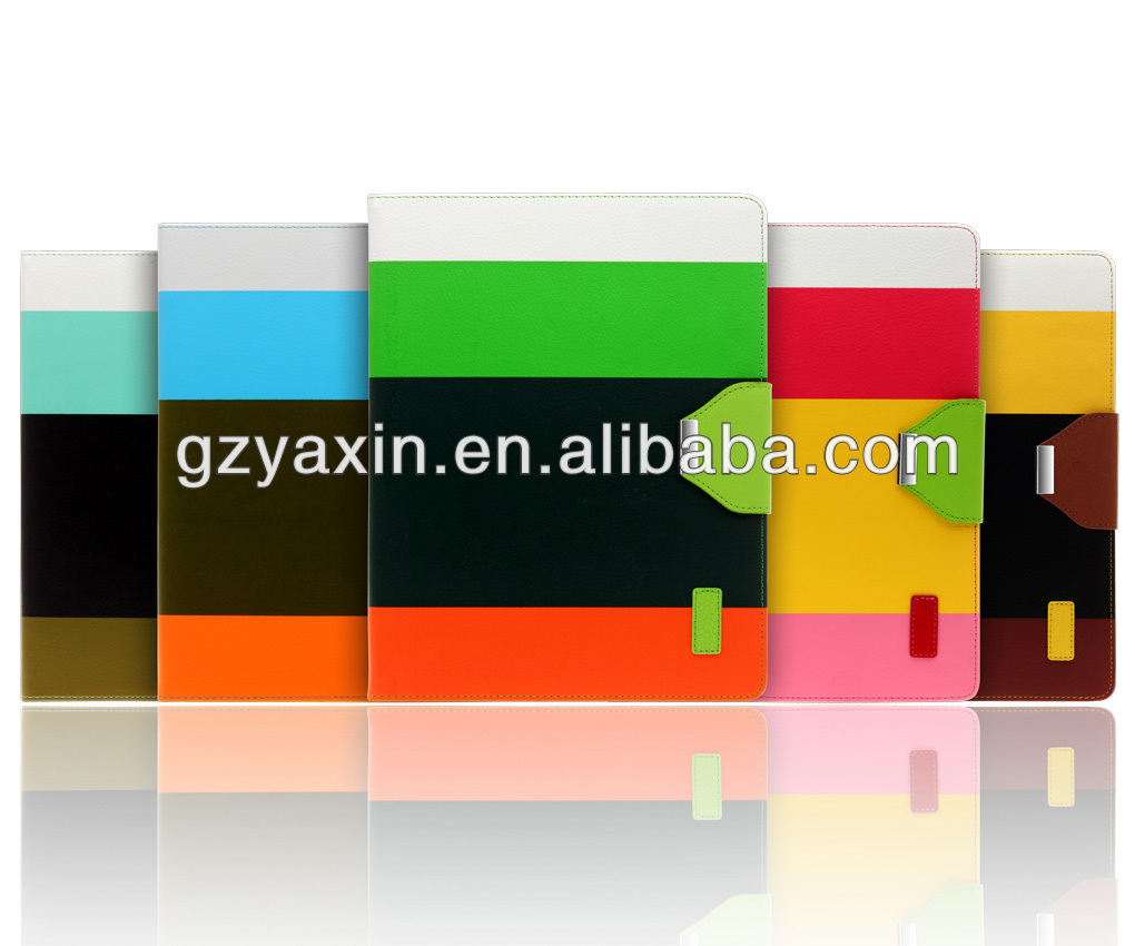 Mixing Color PU Cover For apple ipad mini 2 shockproof case / stripe leather case for ipad mini 2 /3/4 best cover case