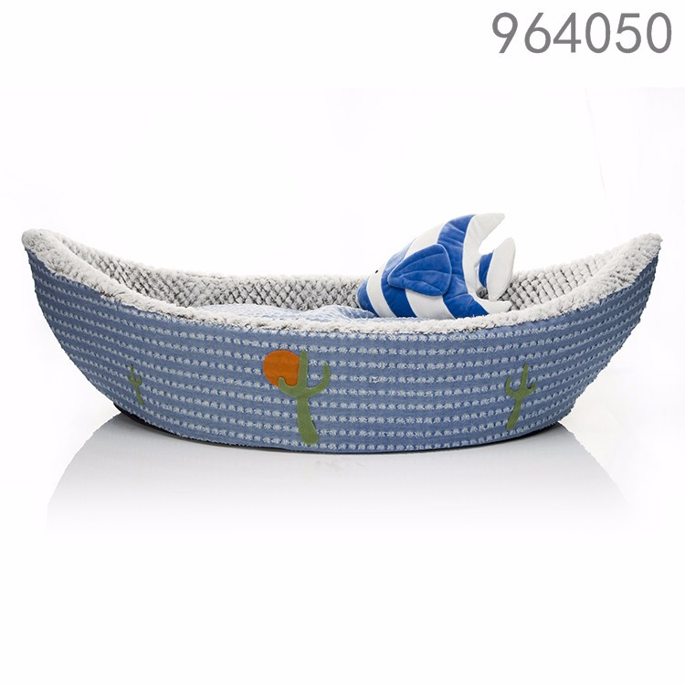 wholesale latest designs new products premium kennel cartoon plush boat pet dog bed for medium dogs