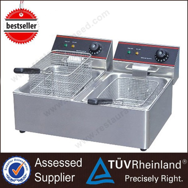 Restaurant Fast Food Cooking Equipment Chicken Fryer With 2-Tanks 2-Baskets Automatic Fish And Chips Fryers