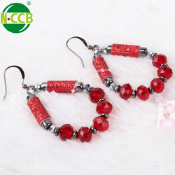 Wholesale cheap jewelry China crystal women hoop red beaded earrings