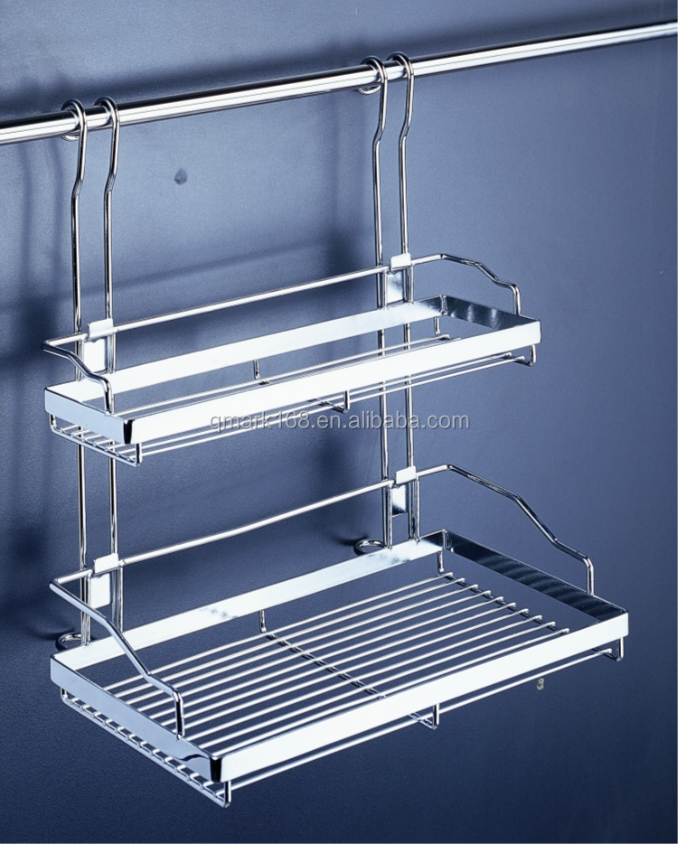 Metal Kitchen Wire Wall Mounted Detachable Hanging Double Storage Spice Rack /Kitchen Utensil Rack Prices( 900.129.000 )