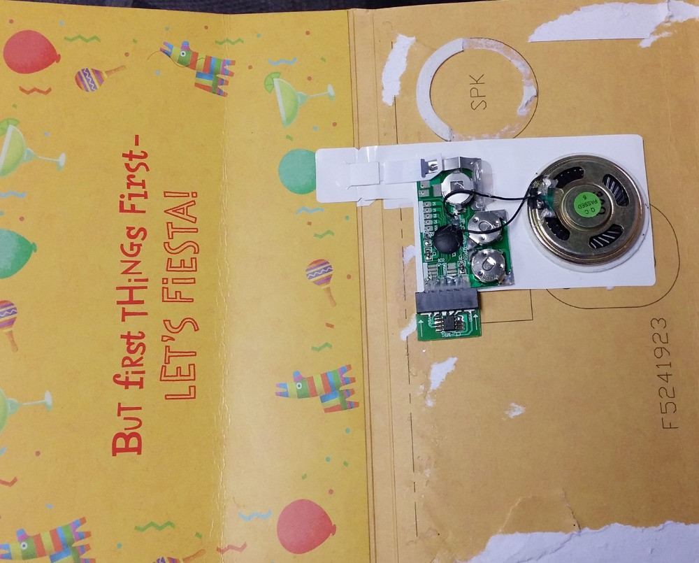 Sound recording device for toy and greeting card