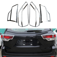 4 Pcs/Set Car Chrome Exterior Accessories Rear Lamp Decoration Trim Taillight Protection Cover Strips For Toyota Highlander 2015