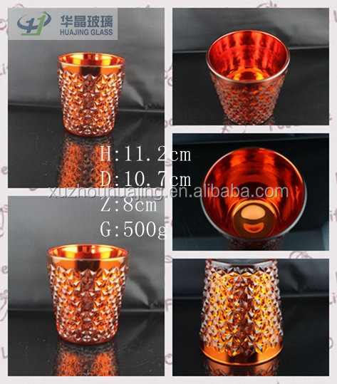450ml electroplating cut glass candle holder for tealight decorative glass jar for candle wholesale