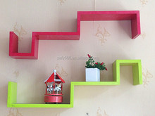 folding S shape modern wooden decorative wall shelves