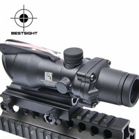 Tactical Trijicon ACOG 4X32 Sight Scope Real Red Fiber Source Red Illuminated Rifle Scope w/ RMR Micro Red Dot