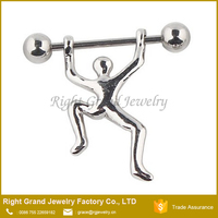 Barbell Dangle Weight Lifter Surgical Steel Nipple Shield Rings Body Piercing 14G