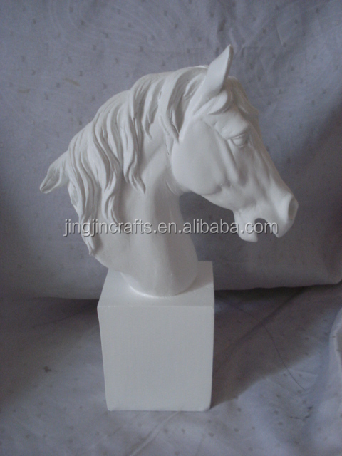 white elegant artificial resin horse head statue European and American style horse head sculpture animal sculpture