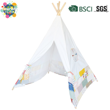 Indian Wigwam Style Floral Patchwork Print Cotton Canvas Play Teepee Tent for Kids
