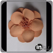 Wool Felt Flower with Leaves Felt Hair Flowers Handmade DIY Accessories