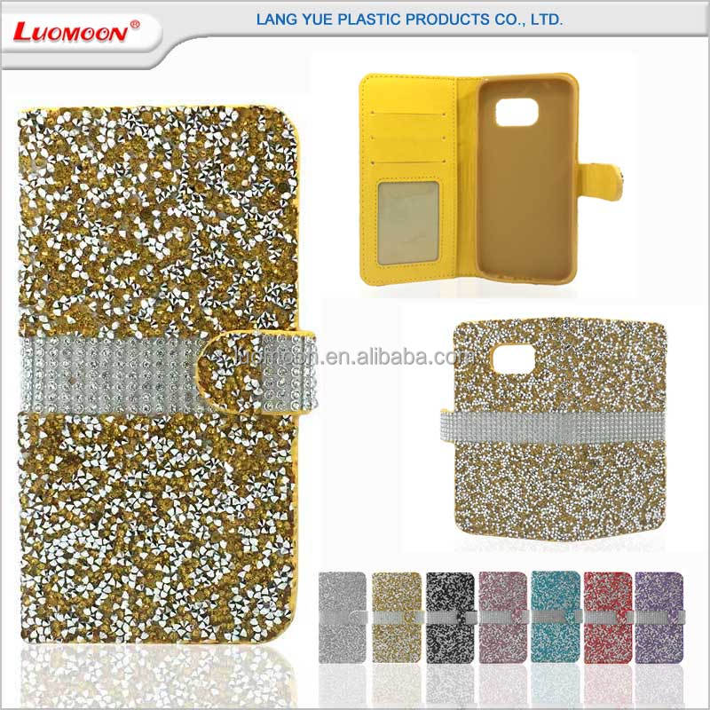 Bling rhinestone PU leather diamond phone cases for samsung galaxy s3 s4 s5 mini s6 s6 edge s6 edge+ s7 s7 edge