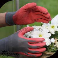 SRSAFETY 13G Polyester liner colored latex gloves 2015 best quality gloves in china