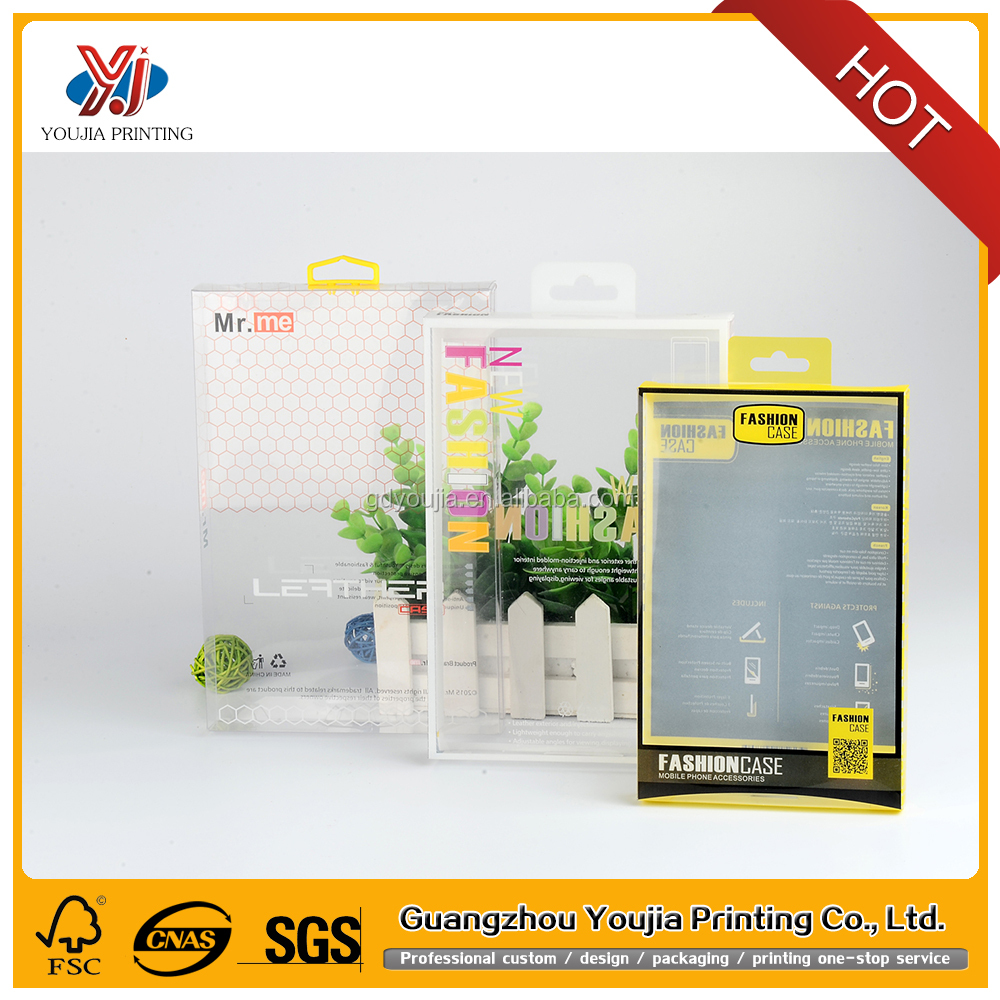 Factory made clear pvc plastic packaging box for phone case or universal