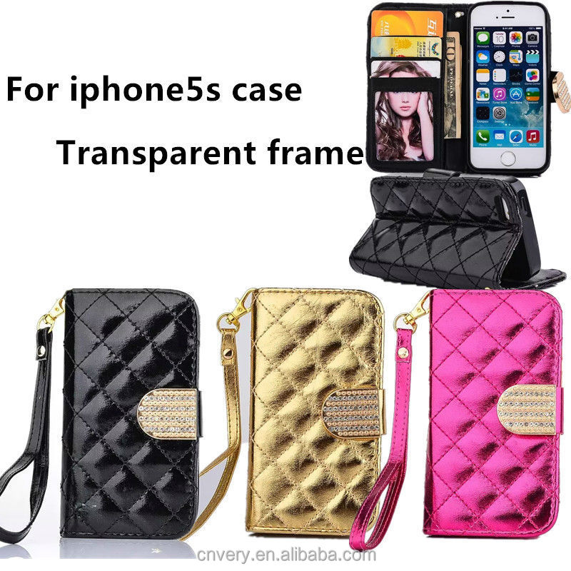 fashion wallet flip frame for apple 5 case smartphone covers for iphone 5s