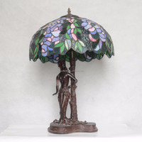 Art Deco Lady Figurine Tiffany Style Shade Table Lamp desk light