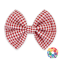 Hot Stripe Top Knot Bow Seersucker Bubble Fabric Hair Accessory Cheap Hair Bows For Girls Boutique
