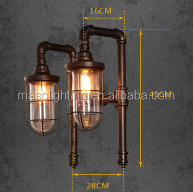 Loft vintage wall lamp Retro Industrial Double Heads Water Pipe Wall Light for Bedroom Decor iron cage sconce wall light