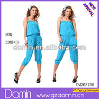 Hot summer ladies fashion jumpsuit ;pleated blouse
