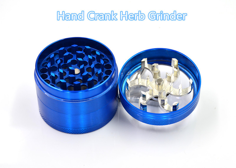 Black 55mm Hand Crank Herb Grinders with 4 Layers Metal Hand Crank Grinders for Smoking Fast Shipping